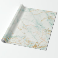 White Mint Green Gold Glam Marble Wrapping Paper