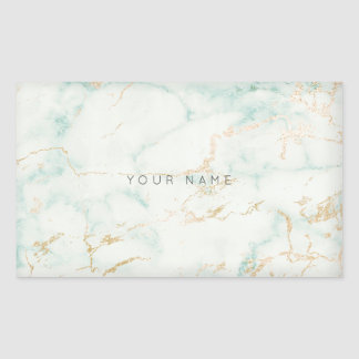 White Mint Green Gold Gray Marble Vip Rectangular Sticker