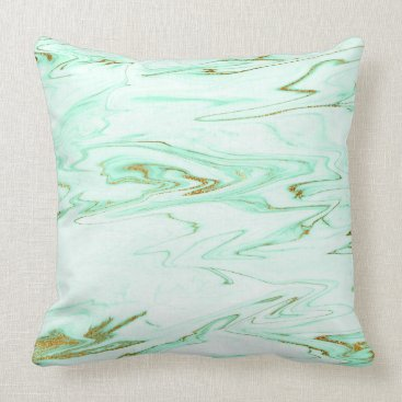 Beach Themed White Mint Green Gold Pastel Marble Throw Pillow