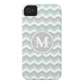 White Mint Green Gray Chevron Zigzag Monogram iPhone 4 Case-Mate Cases