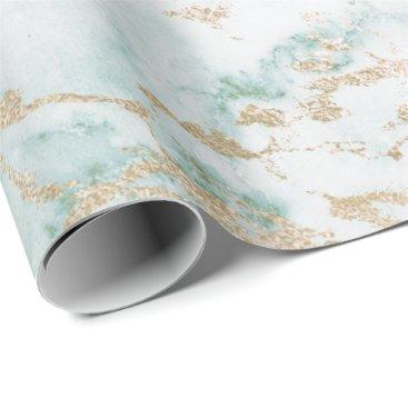 McTiffany Tiffany Aqua White Mint Green Tiffany Gold Stone Marble Wrapping Paper