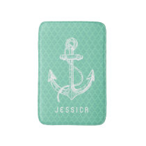 White & Mint Nautical Boat Anchor Bath Mat