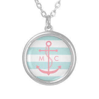 White Mint Pink Monogram Stripes Anchor Silver Plated Necklace