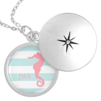 White Mint Pink Monogram Stripes Seahorse Locket Necklace