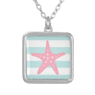 White Mint Pink Monogram Stripes Starfish Silver Plated Necklace
