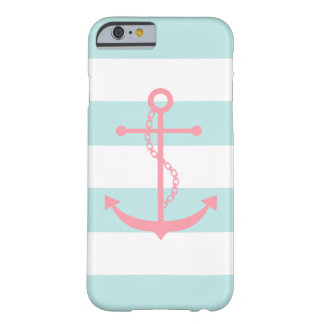 White Mint Pink Stripes Pattern Anchor Barely There iPhone 6 Case