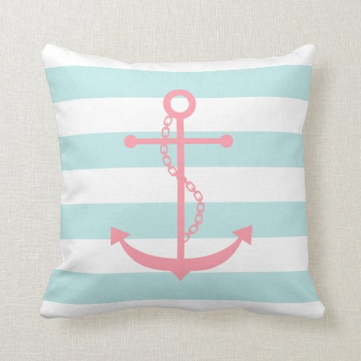 White Mint & Pink Wide Stripes Pattern Anchor Throw Pillows