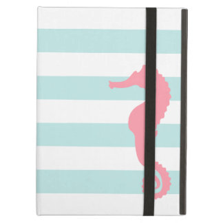 White Mint & Pink Wide Stripes Pattern Seahorse iPad Cover