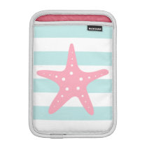 White Mint & Pink Wide Stripes Pattern Starfish Sleeve For iPad Mini