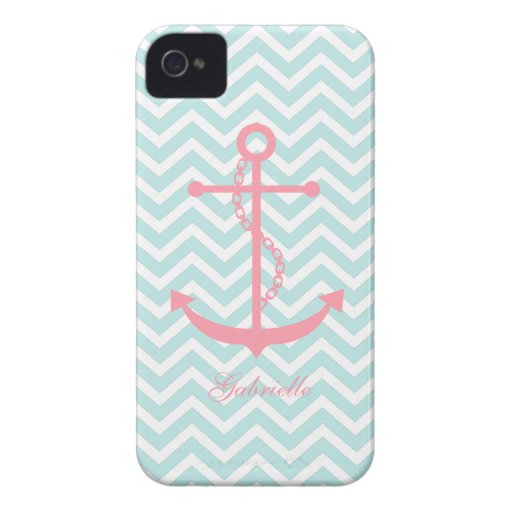 White Mint & Pink Zigzag Pattern Anchor iPhone 4 Covers