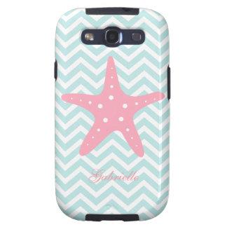 White Mint & Pink Zigzag Pattern Starfish Samsung Galaxy S3 Covers
