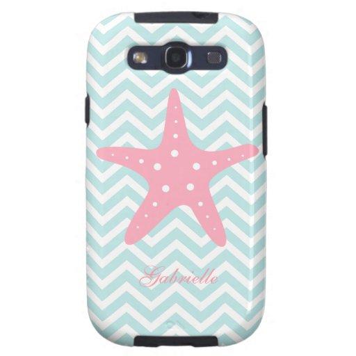 White Mint & Pink Zigzag Pattern Starfish Galaxy SIII Covers