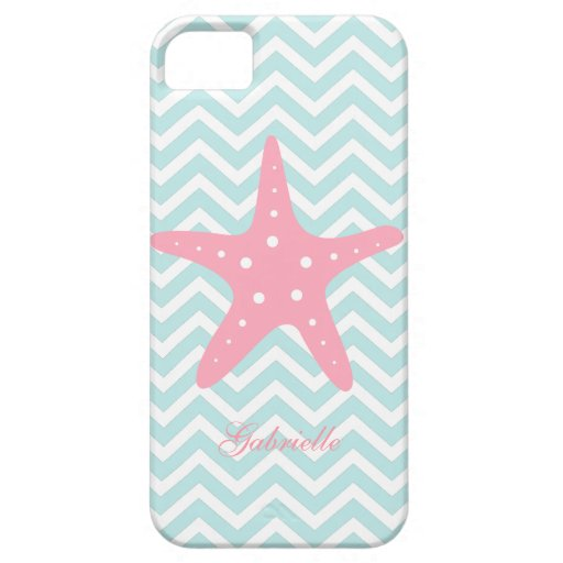 White Mint & Pink Zigzag Pattern Starfish iPhone 5 Cases
