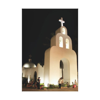 White Mission Style Catholic Church at Night Canvas Print