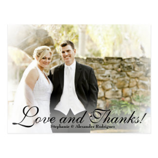 White Mist Filter Wedding Photo Thank You Card