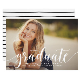 White Modern Calligraphy Graduation Announcement at Zazzle