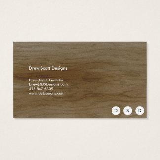 White Modern Polka Dot on Wood Business Card