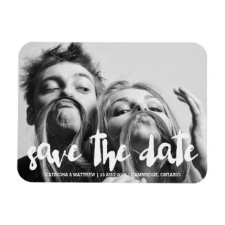 White Modern Typography Save the Date Magnet