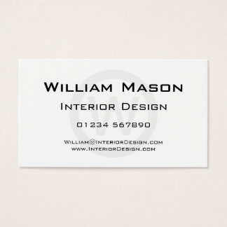 White Monogram Circle - Professional Business Card