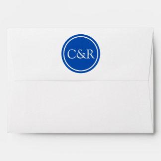 White Monogram Envelope, Cobalt Blue Lined Envelope