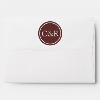 White Monogram Envelope, Raisin Brown Lined