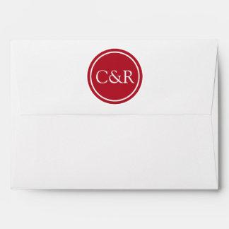 White Monogram Envelope, Red Lined Envelope