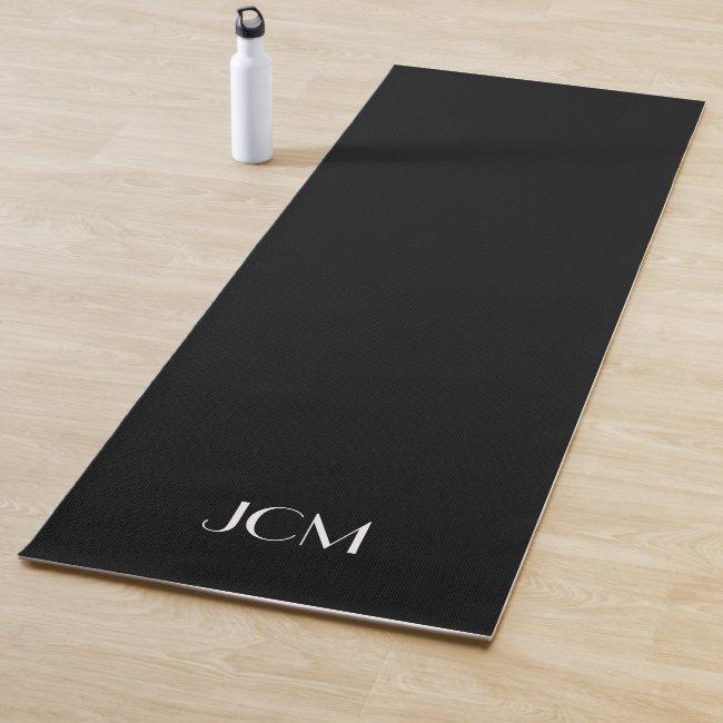 White Monogram Initials on Black Yoga Mat