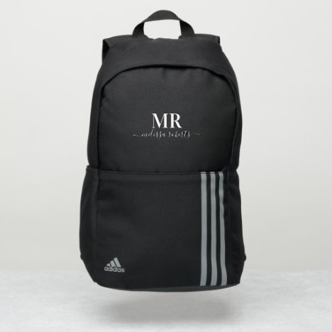 White monogram name typography script stylish adidas backpack