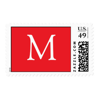 White monogram on red background postage stamps