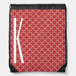 White Monogram on Retro Red Quatrefoil Pattern Drawstring Backpacks