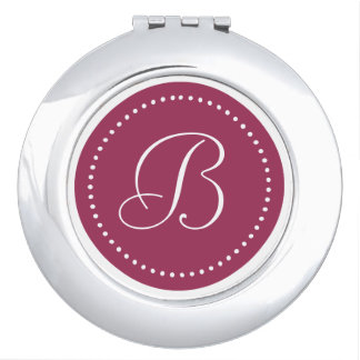 White Monogram on Sangria Pink with White Dots Compact Mirror