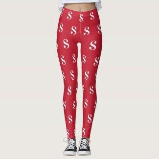 White Monogram Pattern on Red Leggings