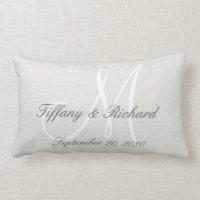 White Monogram Rustic Look Linen Wedding Lumbar Pillow