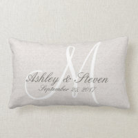 White Monogram Rustic Look Lumbar Pillow