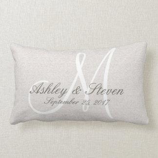 White Monogram Rustic Look Lumbar Pillow