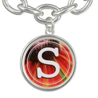 White Monogram Simplicity Orange Wildflower Custom Charm Bracelet