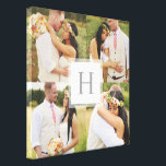 "White Monogram Square Collage Canvas Print<br><div class=""desc"">A custom canvas is a beautiful way to display your wedding photos. It also is a wonderful gift option for newlyweds! This classic multi-photo design features a white square with a gray monogram outlined with a sheer white layer. This custom canvas allows space for 4 wedding photographs from your special...</div>"