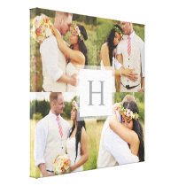 White Monogram Square Collage Canvas Print