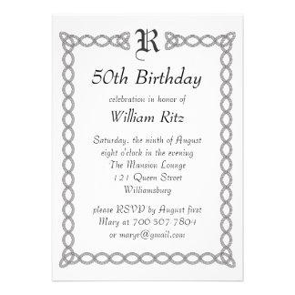 White Monogrammed Birthday Invitation