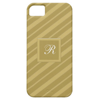 White Monogrammed Gold on Gold Tie Stripes Pattern iPhone 5 Cases