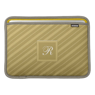 White Monogrammed Gold on Gold Tie Stripes Pattern MacBook Air Sleeve