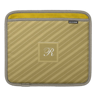 White Monogrammed Gold on Gold Tie Stripes Pattern Sleeve For iPads