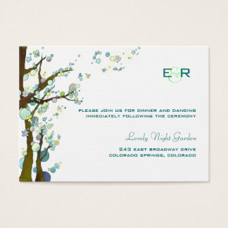 White Monogrammed Wedding Reception Enclosure Business Card