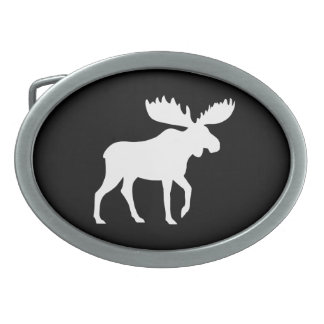 White Moose Silhouette Belt Buckle