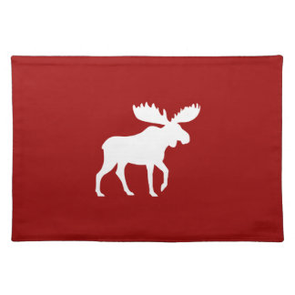 White Moose Silhouette Cloth Placemat