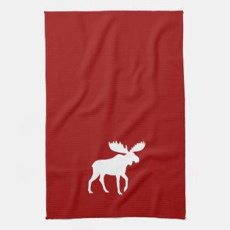 White Moose Silhouette Kitchen Towel