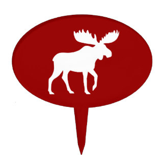 White Moose Silhouette on Red Cake Topper