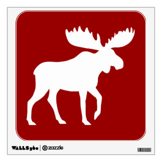 White Moose Silhouette on Red (Customizable) Wall Sticker