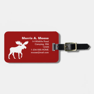 White Moose Silhouette on Red Luggage Tag