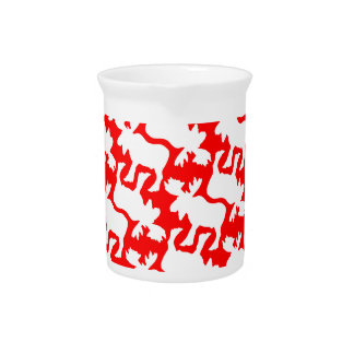 White Moose Silhouette pattern on Red Beverage Pitcher